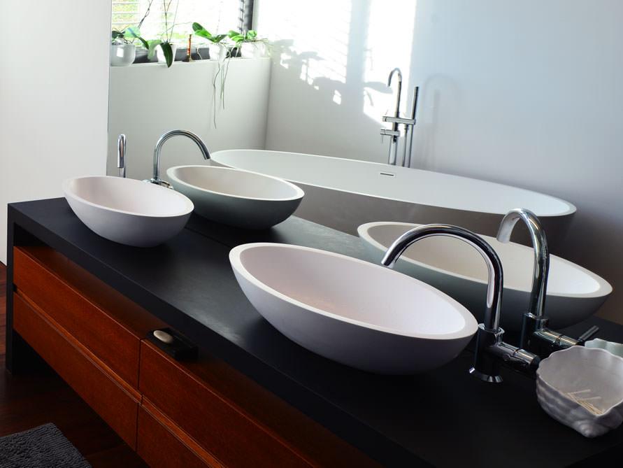 waschbecken aufsatzbecken sillaro aus edlem mineralguss ebay. Black Bedroom Furniture Sets. Home Design Ideas