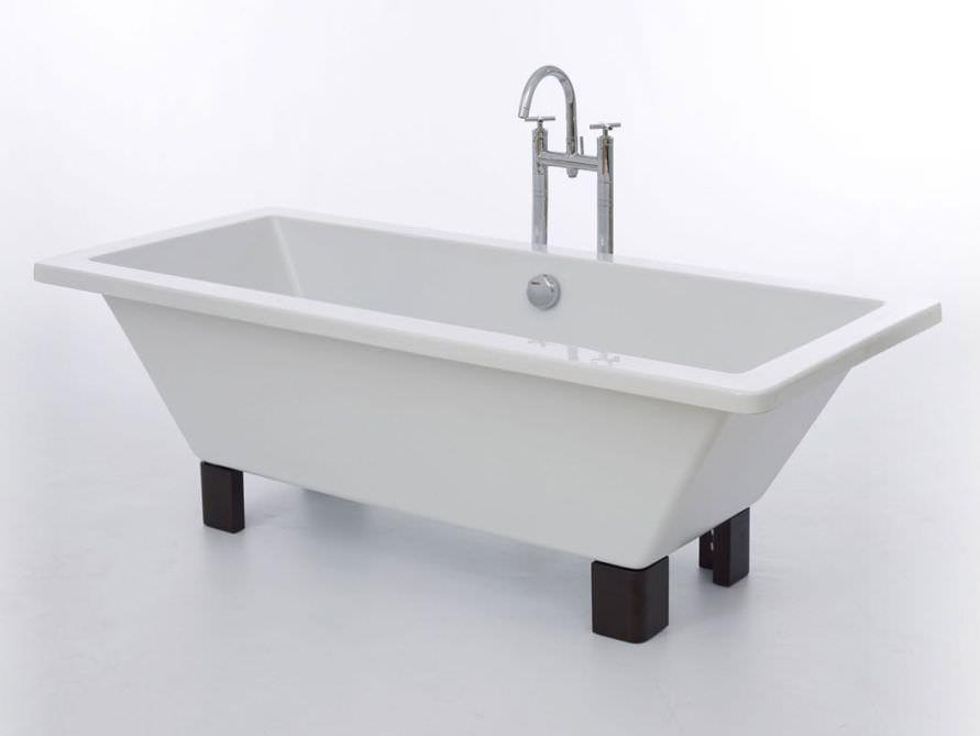 Freistehende Badewanne Brighton 160 aus Acryl - weiß glänzend ... | {Freistehende badewanne eckig 38}