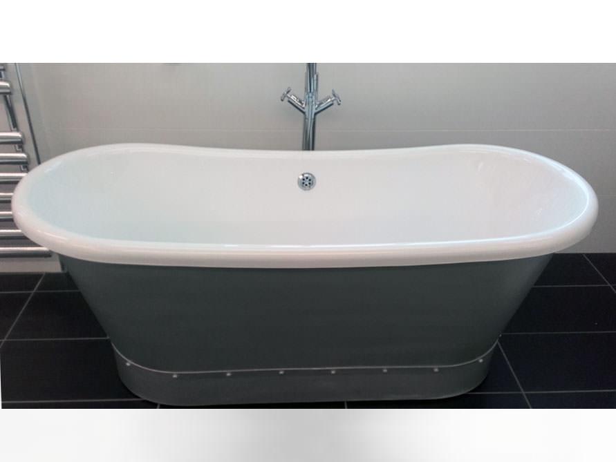 cadiz freistehende acryl badewanne wei grau 171x69x68 oval nostalgie modern duo. Black Bedroom Furniture Sets. Home Design Ideas