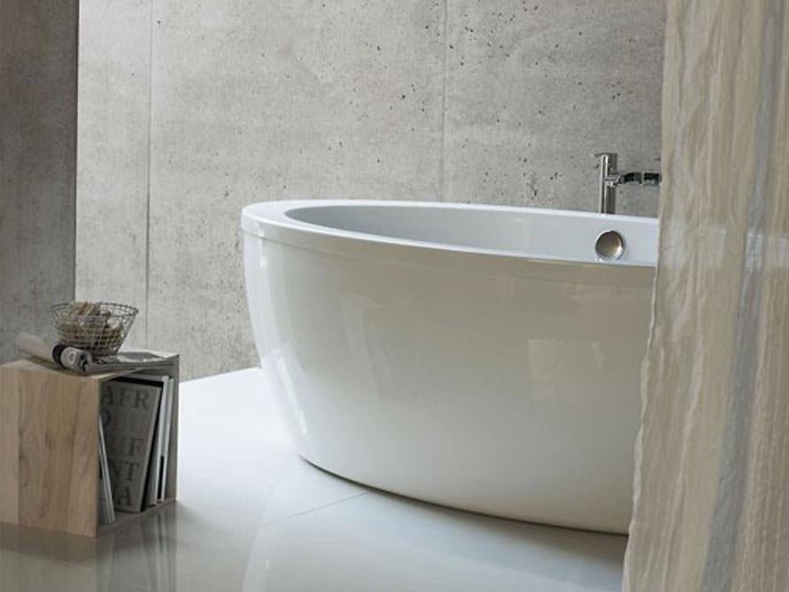 formentera freistehende acryl badewanne wei gl nzend 174x87x63 oval modern duo. Black Bedroom Furniture Sets. Home Design Ideas