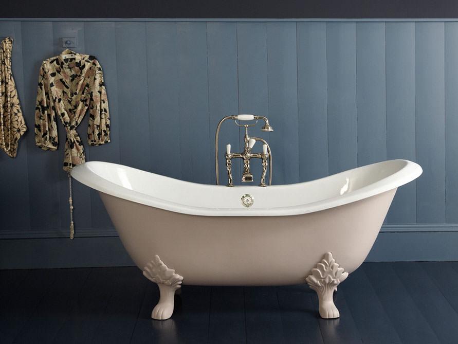 Badewanne  Freistehende Badewanne Edinburgh aus Guss - weiß - 182x76x80 ...