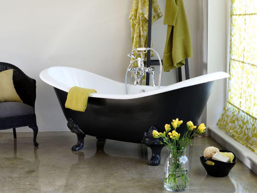 Badewanne freistehend mit füssen  Freistehende Badewanne Edinburgh aus Guss - weiß - 182x76x80 ...