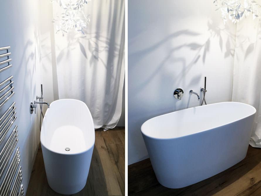 Freistehende badewanne mineralguss oder acryl  Freistehende Badewanne Bellagio aus Mineralguss - Weiß matt oder ...