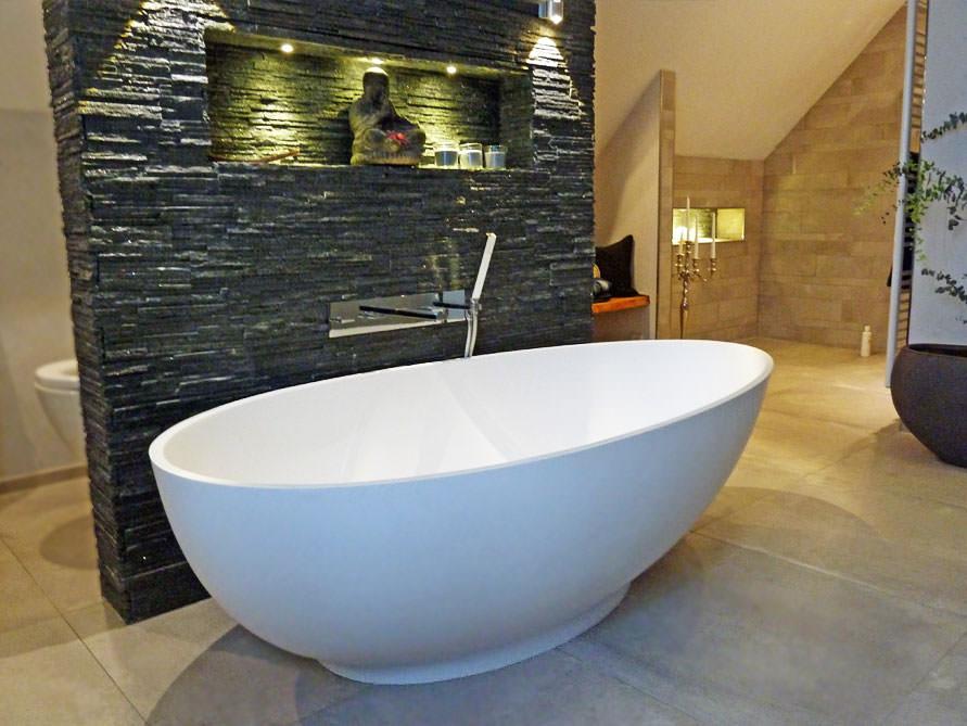 freistehende badewanne campione von bädermax - mineralguss, Badezimmer ideen