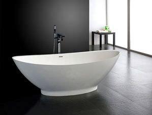 Freistehende badewanne mineralguss  Freistehende Badewanne Barletta aus Mineralguss - Weiß matt oder ...