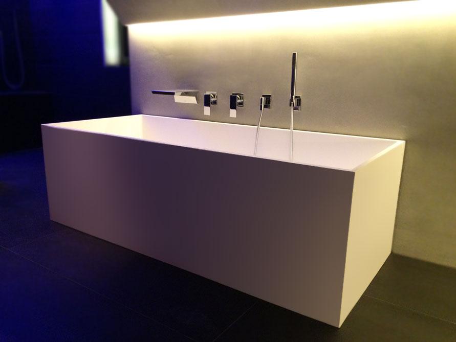 Freistehende badewanne eckig  Freistehende Badewanne Firenze aus Mineralguss - Weiß matt oder ...