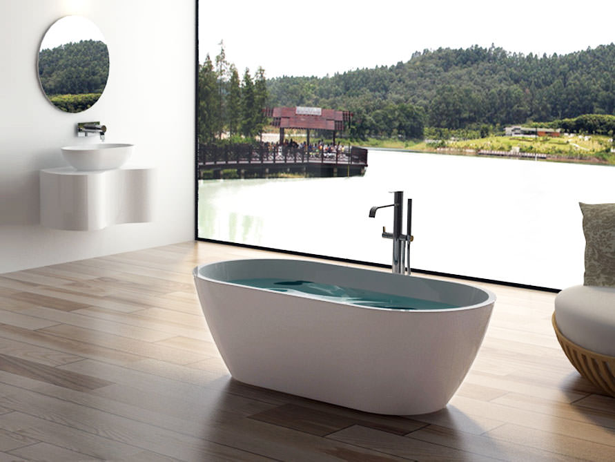 Freistehende badewanne mineralguss oder acryl  Freistehende Badewanne - Mineralguss - Acryl - Nostalgie Badewanne