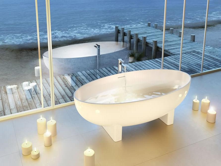 ravenna freistehende mineralguss badewanne wei. Black Bedroom Furniture Sets. Home Design Ideas