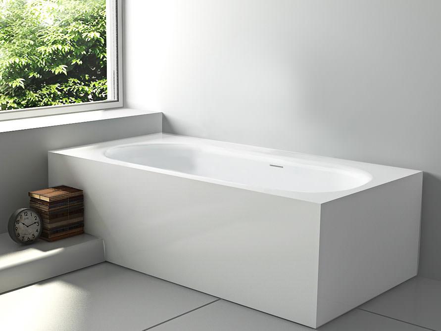 Freistehende Badewanne Sassari aus Mineralguss - Weiß glänzend ... | {Freistehende badewanne eckig 5}